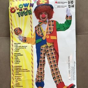♓️🅿️Clown kids Halloween costume and wig and nose